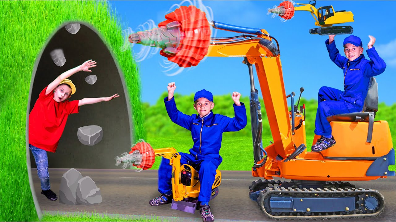 Learn Sizes with Excavators | Pretend Play for Kids