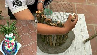Ide kreatif buat pot bunga | Mempercantik rumah | Pot bunga dari semen