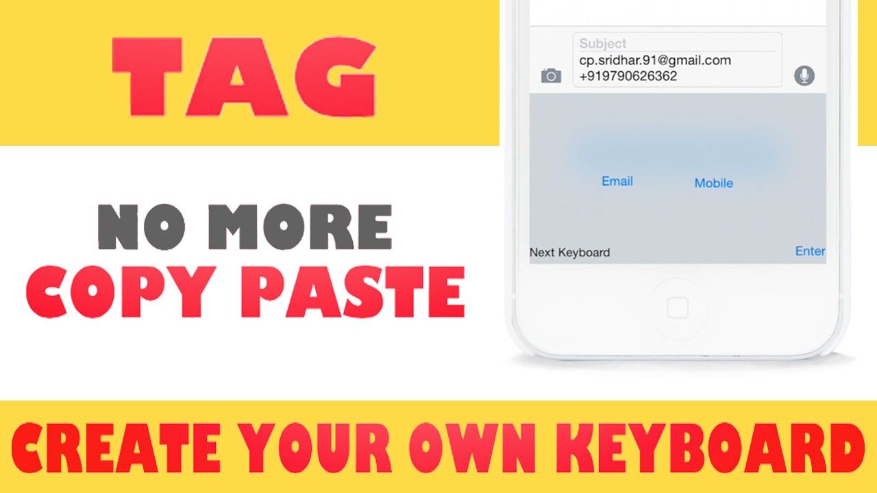 TAG - Shortcut Keyboard App for iOS - CP Sridhar