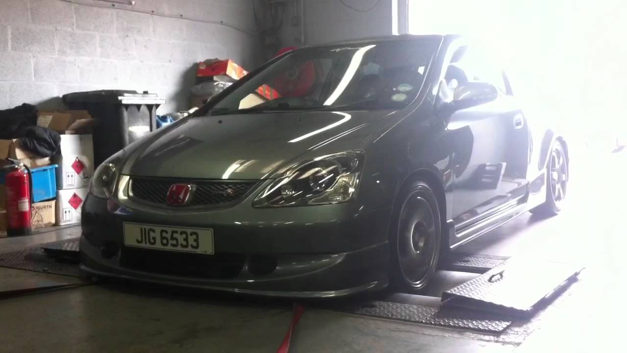EP3 Honda Civic Type R 212bhp Rolling Road / Dyno VTEC KICK SOUND - YouTube