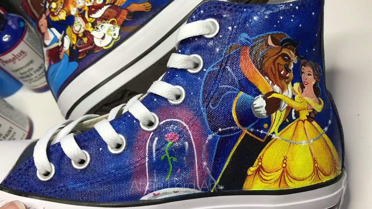 0c1123e761b7 Disney s Beauty And The Beast inspired Bridal Converse   Wedding Shoes    Wedding Sneakers