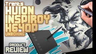 Huion Inspiroy H640P unboxing + review + Pro art on a cheap tablet?