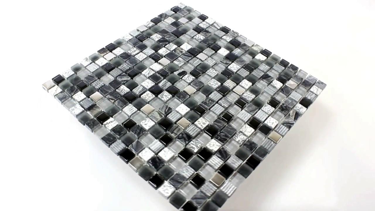 Badezimmer Küchen Wandfliesen Mosaik Venzona Schwarz Silber - YouTube