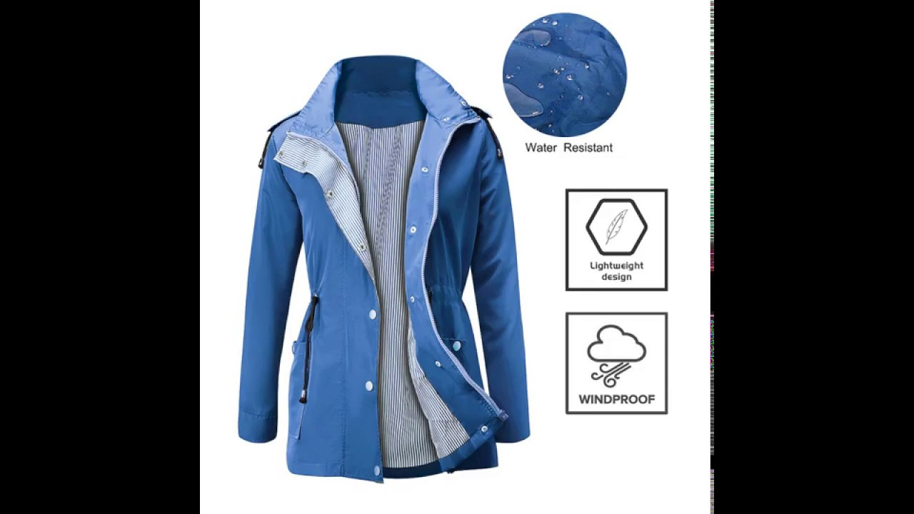 09dd5f24d FISOUL Raincoats Waterproof Lightweight Rain Jacket Active Outdoor Hooded  Women's Trench Coats