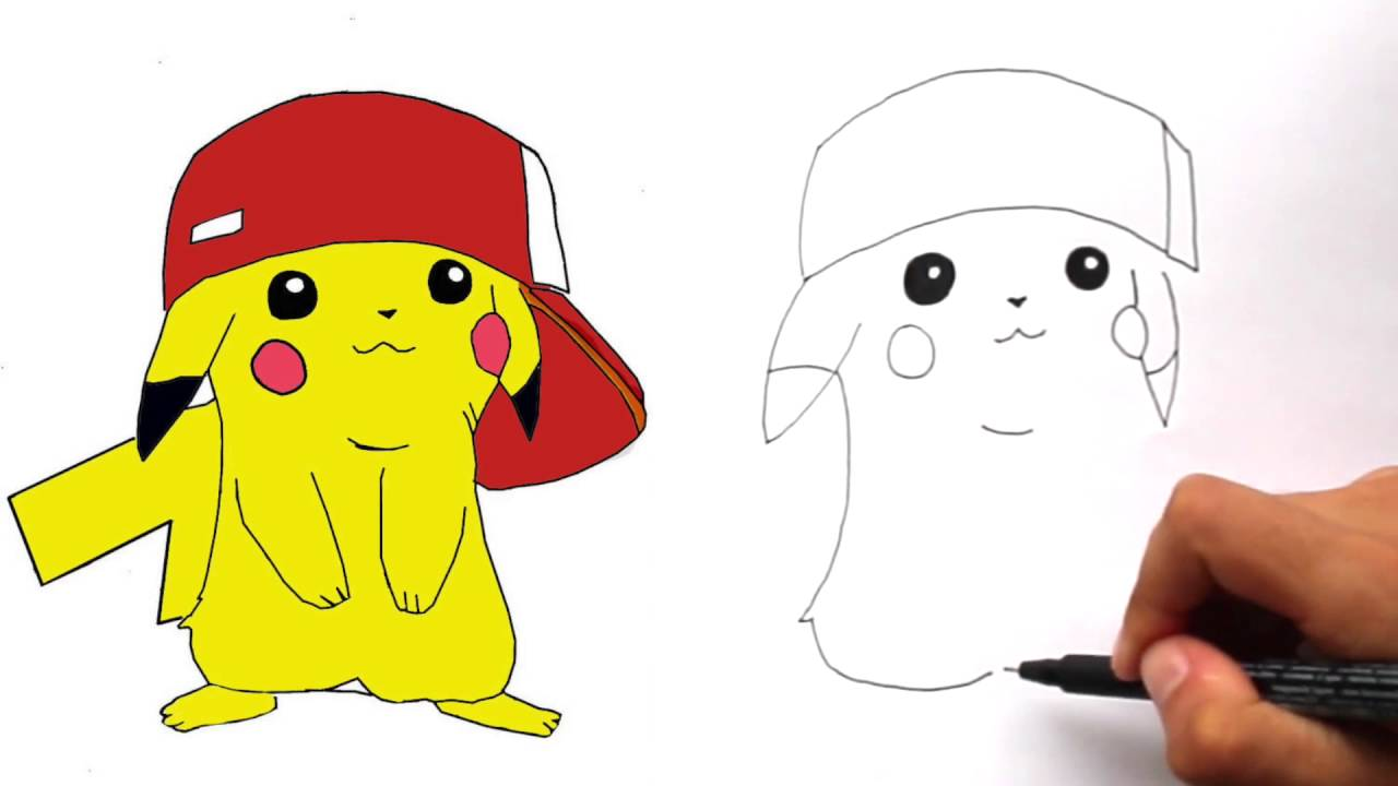 how to draw pikachu with ashs hat step by step