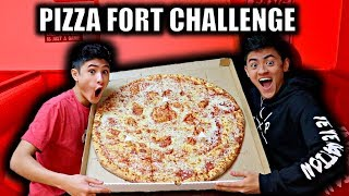giant pizza challenge inside toilet paper fort