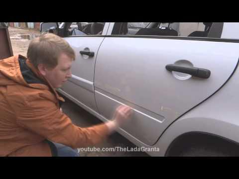 "Lada Granta - установка молдингов дверей ""Калина Спорт""."