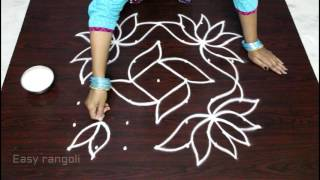 lotus kolam designs with 7x7 dots || flower muggulu designs with dots || easy rangoli designs