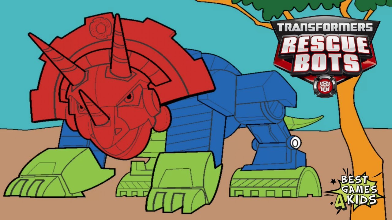 Transformers Rescue Bots Dino Island New Update Color Your