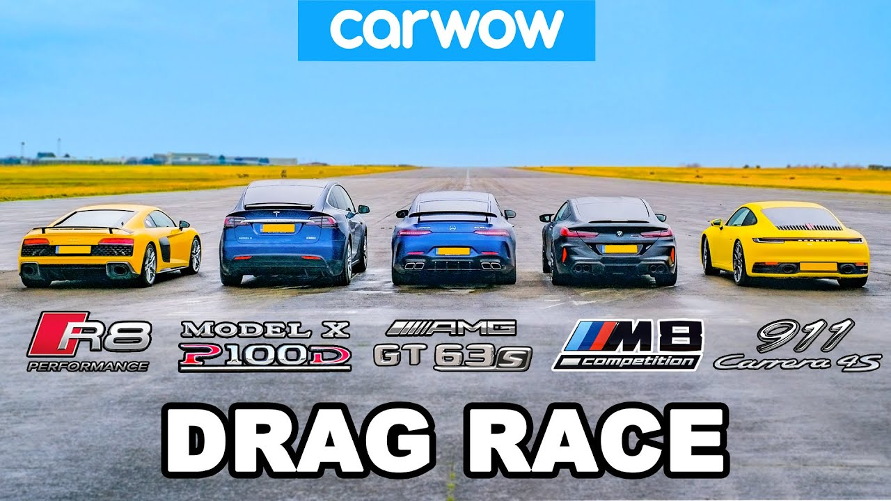 (VIDEO) - BMW M8 v Audi R8 v AMG GT 4dr v 911 vs Tesla Model - (DRAG RACE)