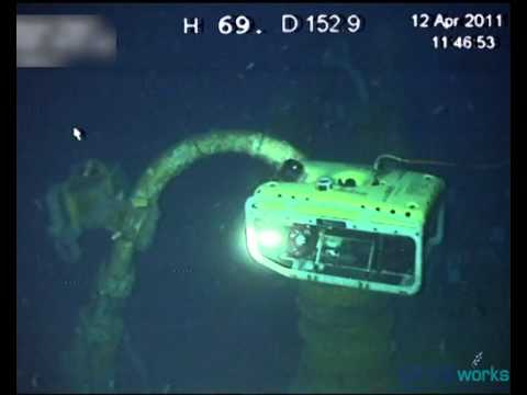 Underwater inspection by Remotely Operated Vehicle (ROV) at 153m deep