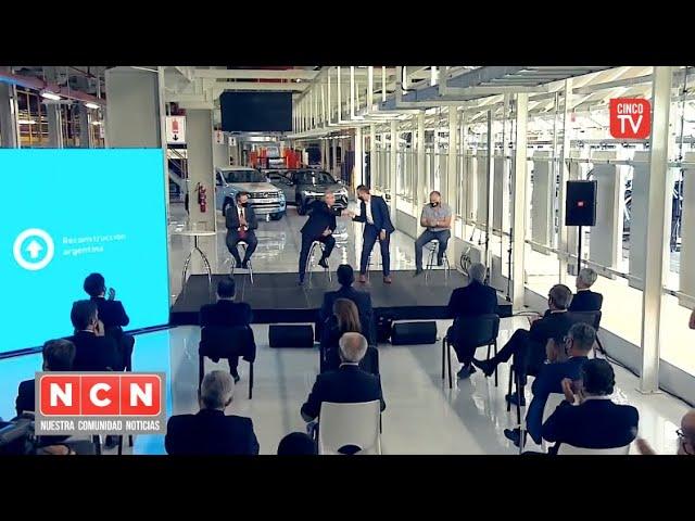 CINCO TV - Julio Zamora acompañó a Alberto Fernández en la planta de pintura de Volkswagen Pacheco