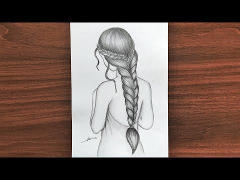 رسم سهل تعليم بالخطوات رسم بنت كيوت وتسريحة شعر بنت جميلة Youtube