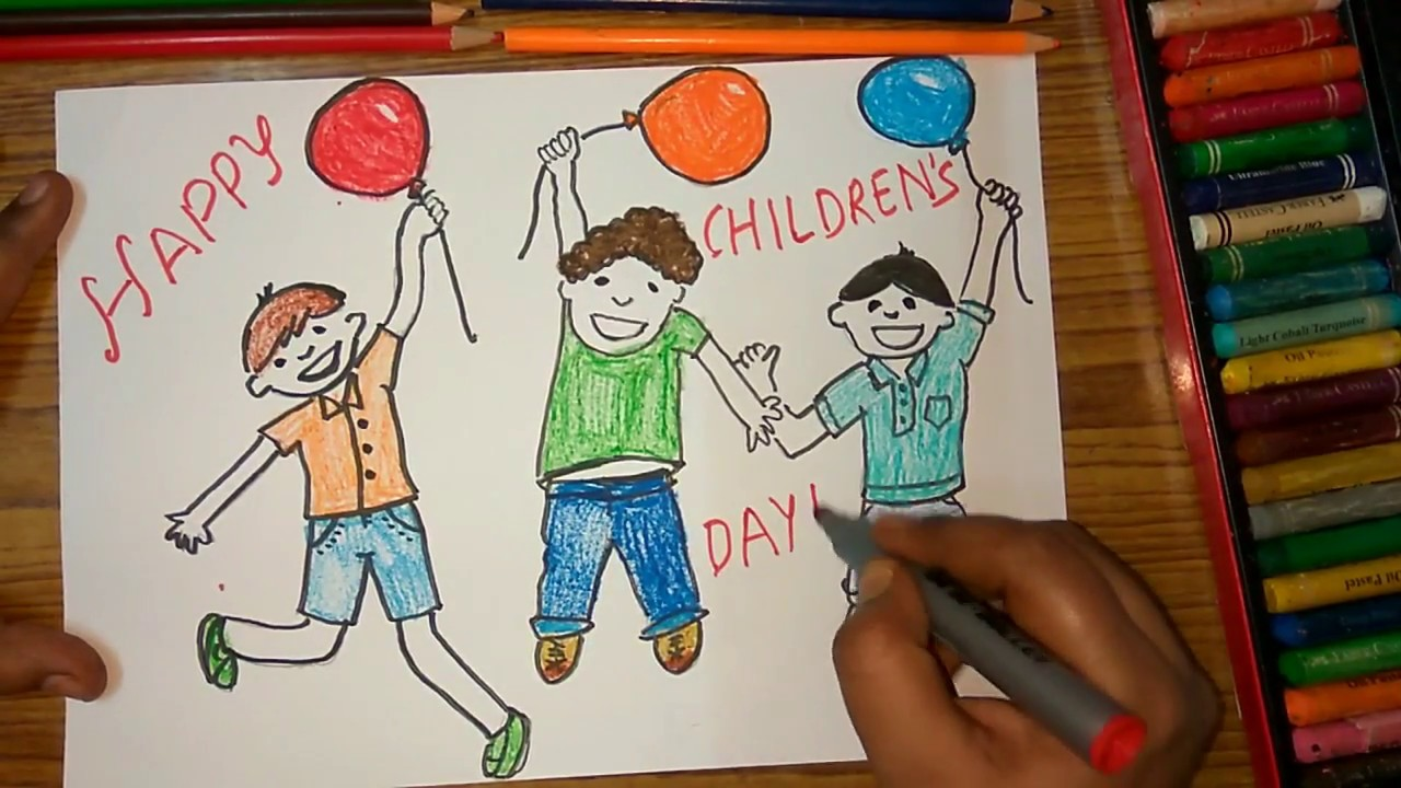 How To Draw Children S Day Kids Celebrating Poster Step By Step Very