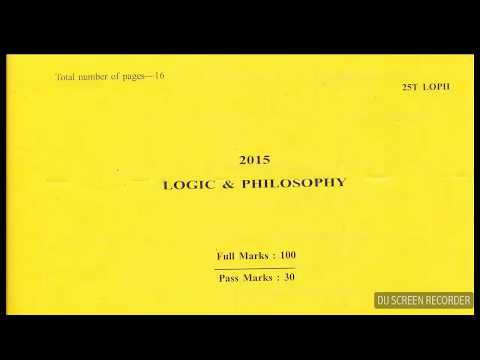 AHSEC Logic And Philosophy Question Paper- 2015
