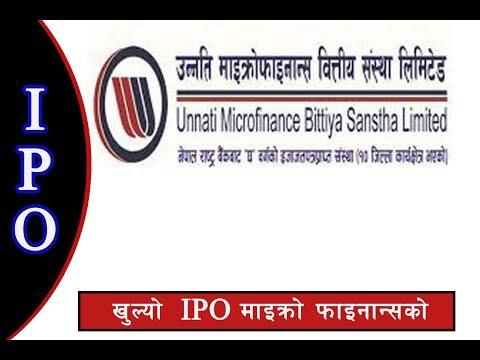 IPO  Unnati Microfinance