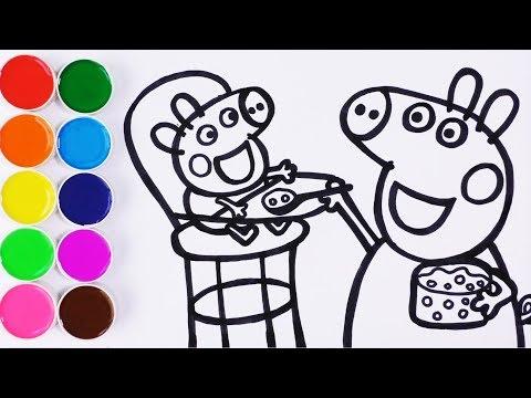Como Dibujar y Pintar Baby Alexander  y Peppa Pig - Videos Para Ni帽os - Learn Colors / FunKeep