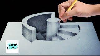 Trick Art Drawing – How to draw 3D stairs | 3D pencil | 3d pen art | modernartpaintings