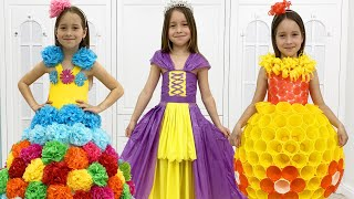 Sofia and Dad makes new dresses for Princess party, Cool ideas for girls
