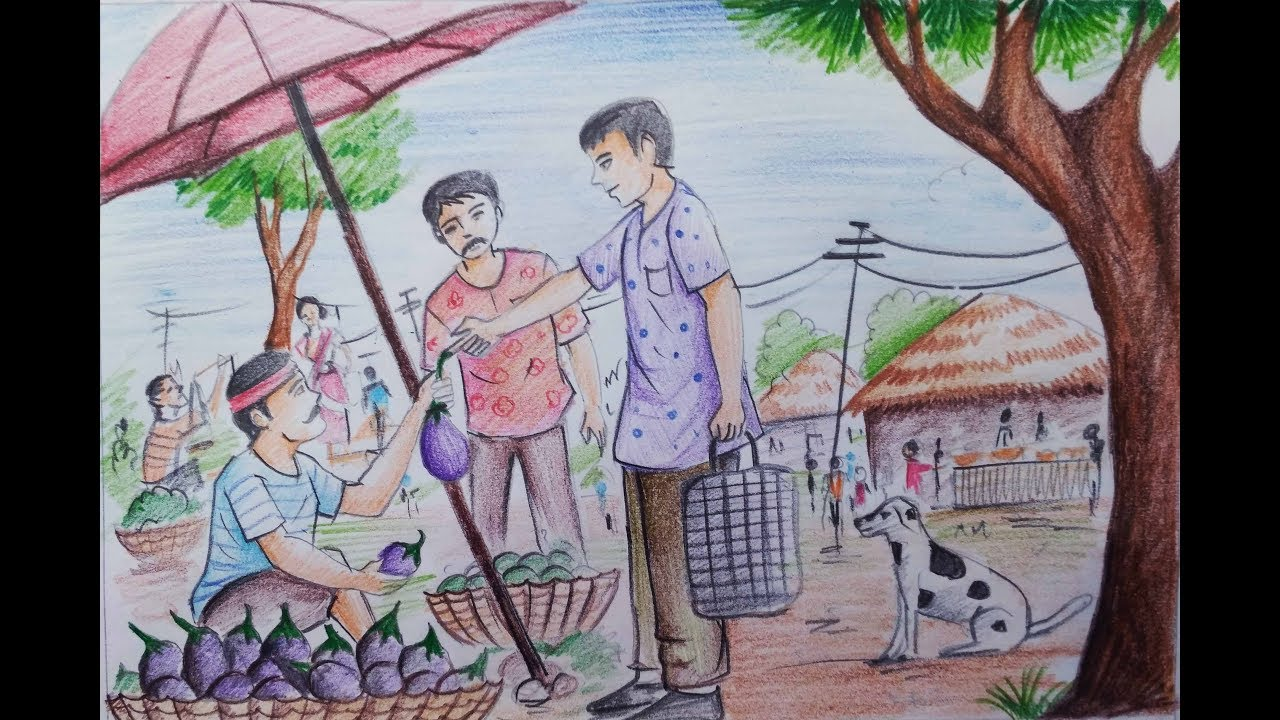 How to draw village market with colour pencil