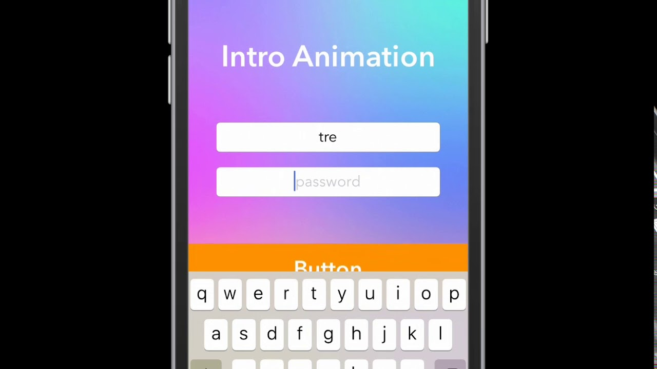 iOS Buttons TextFields Animation Example