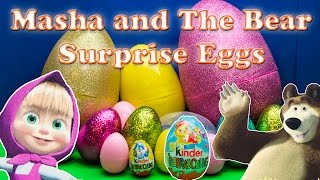 Exploring MASHA AND THE BEAR  Surprise Eggs and Toys with the Asistant