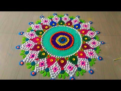 Diwali Rangoli,how to make beautiful innovative Diwali rangoli by Jyoti rathod