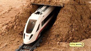 Railgadi O janbahon  Lego train fun with sand tunnel and construction vehicles  Kiddiestv Bangla