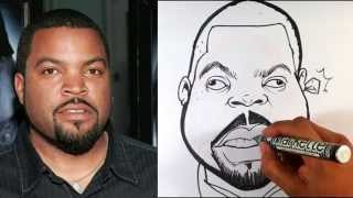How to Caricature Ice Cube - Easy Pictures to Draw