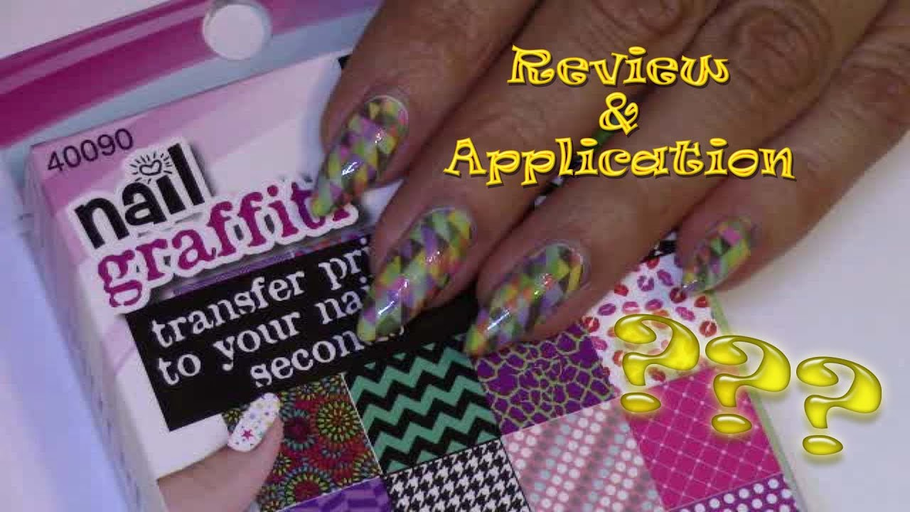Nail Graffiti transfers review & application - YouTube