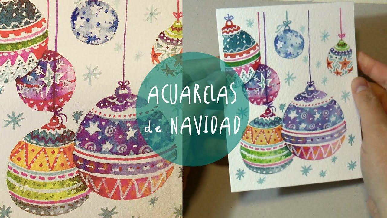 Dibujos de navidad para pintar con acuarelas
