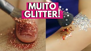 MAKE DE CARNAVAL: como colar glitter na pele + nail art com glitter l Carnaval l VIX