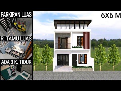desain rumah 6x6 meter 2 lantai dengan 3 kamar tidur - youtube