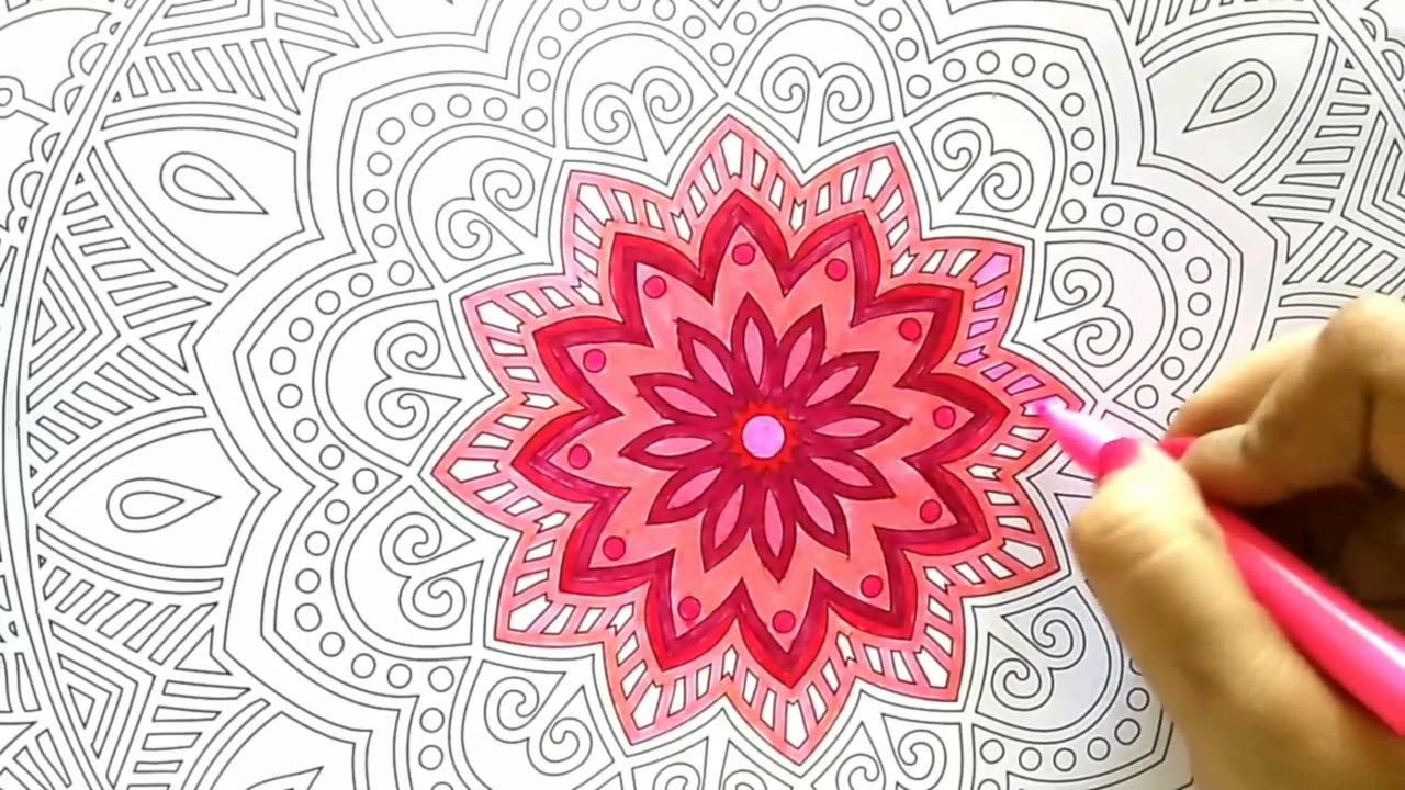 Mandala Coloring - with Faber castell sketch pen - YouTube
