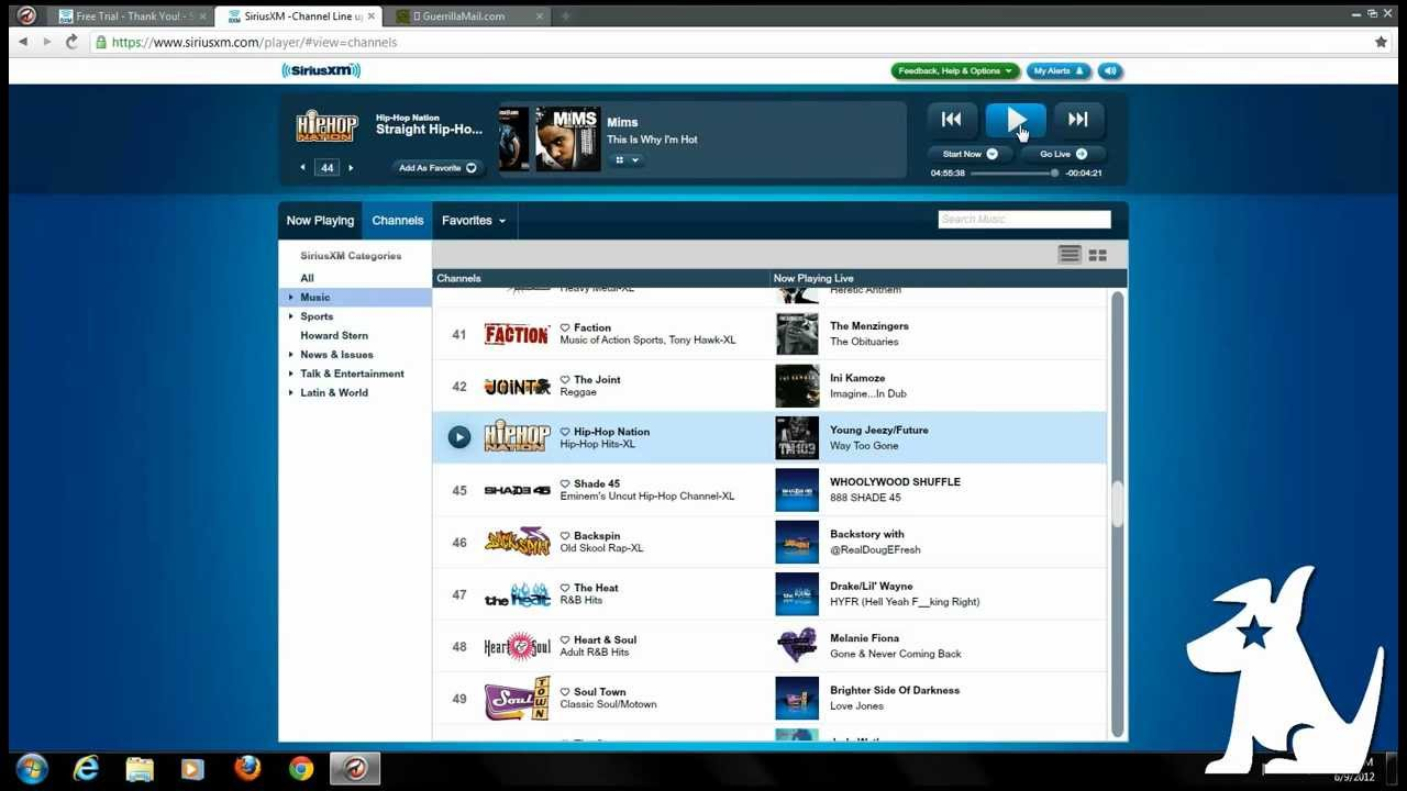 Sirius radio unlimited trial accounts tutorial youtube publicscrutiny Images