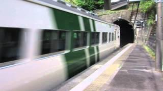 踊り子号185系ストライプ色伊豆急行線内今井浜海岸駅通過