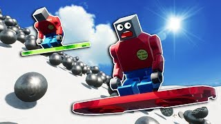 LEGO SNOWBOARDERS OUTRUN AVALANCHE! - Brick Rigs Multiplayer Gameplay - Lego Avalanche Survival