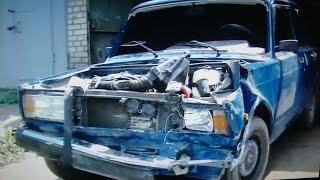Кузовной ремонт ВАЗ 2107 часть 1 .BODY REPAIR(Передний левый удар . Вытяжка , снятие мотора , снятие подвески передней , демонтаж передней панели и крыльев..., 2014-07-23T02:09:30.000Z)