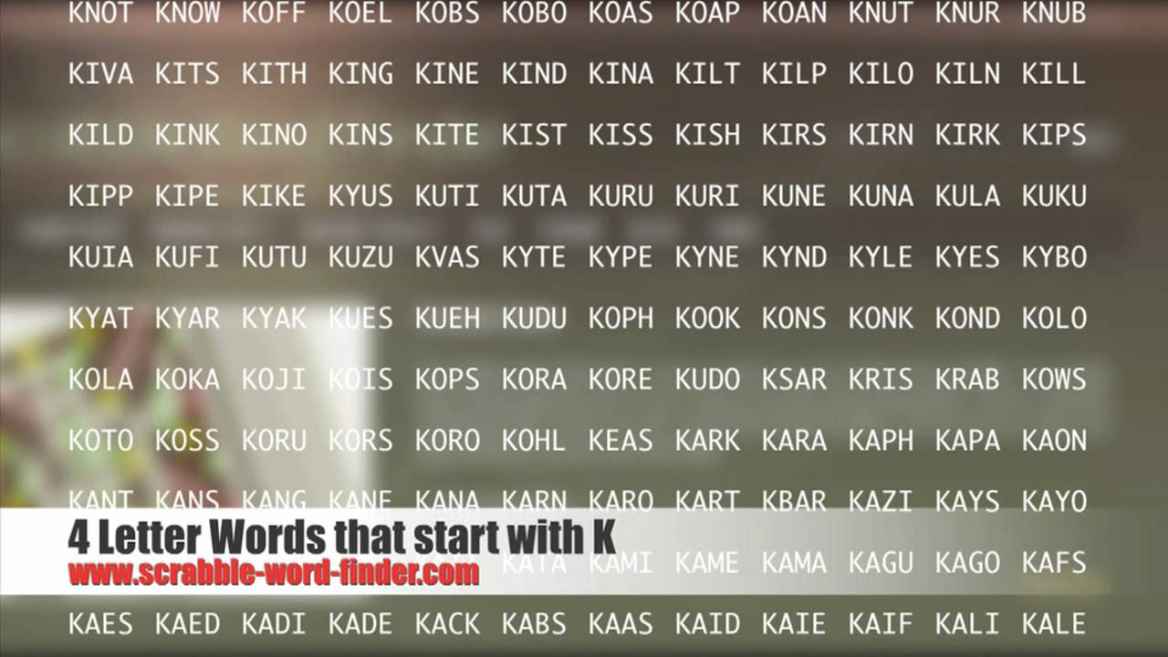 4 letter words that start with K   YouTube