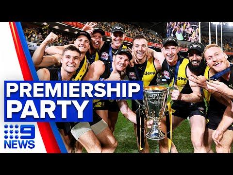 Richmond Tigers celebrate AFL win   9 News Australia