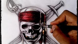 Como desenhar a caveira símbolo do piratas do Caribe realista - Speed drawing