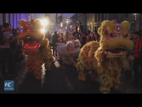 Chinese lions and dragons roam the streets at Santiago a Mil Festival