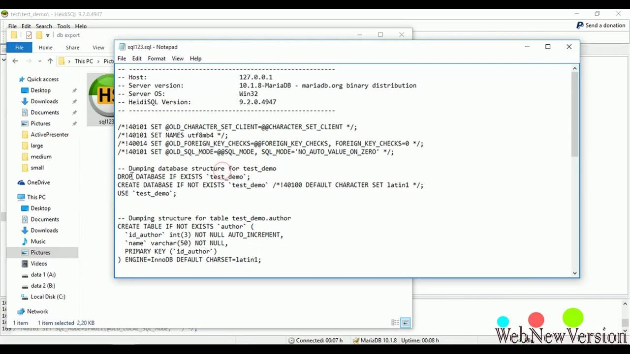 Tutorial HeidiSQL with MariaDB and MySQL Part 9 Export data as SQL with  many options