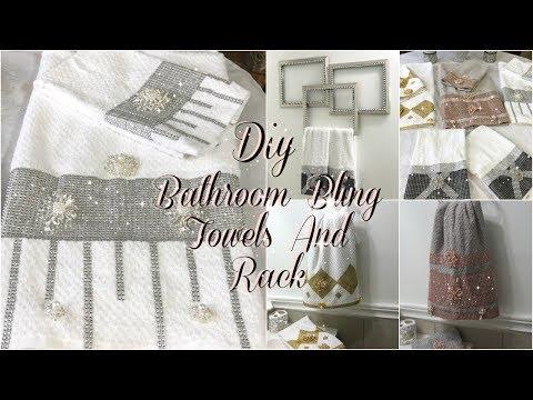 BATHROOM DECOR IDEAS | DIY GLAM DECORATIVE TOWELS | DIY DOLLAR TREE BATHROOM TOWEL HOLDER