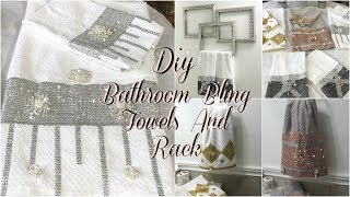 BATHROOM DECOR IDEAS | DIY GLAM DECORATIVE TOWELS | DIY DOLLAR TREE BATHROOM TOWEL HOLDER