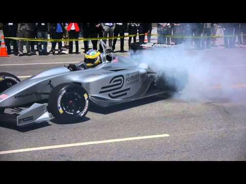 Formula E burnout short video - Electric race car on Hill St. in L.A.