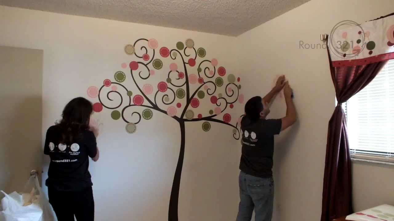 Round How To Install A Large Wall Decal YouTube - How to put up a large wall decal