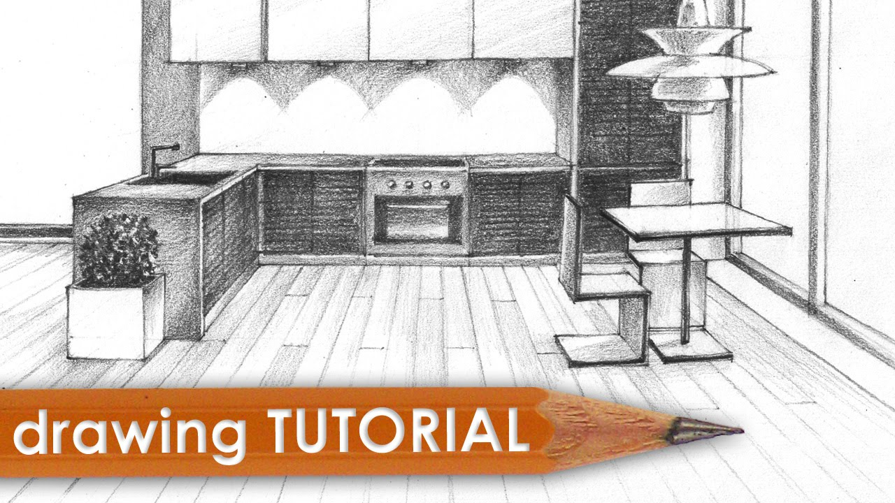 Drawing tutorial - room in one point perspective (kitchen) - YouTube