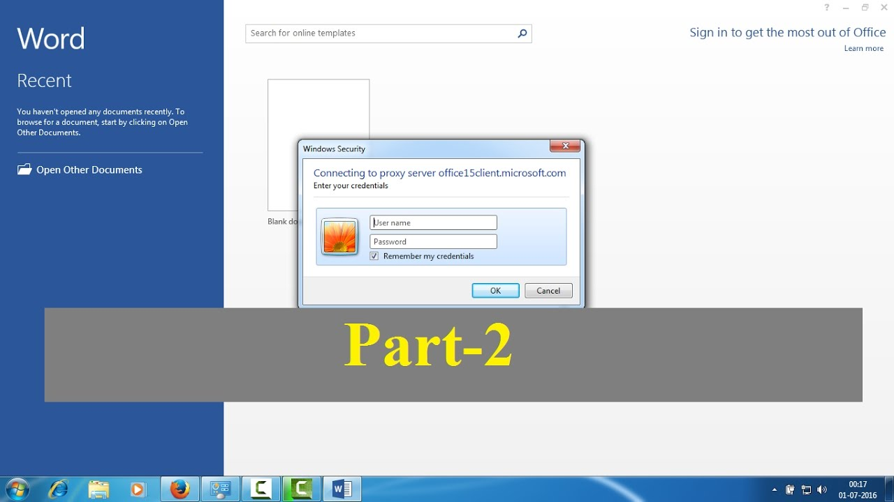 Connecting to proxy server office15client microsoft com :Part 2