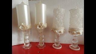 Հարսանյաց մոմերի ձեւավորում. WEDDING candles design.свадебные свечи.